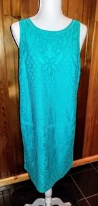 Ann Taylor LOFT. Fashion Lace/Lined Teal Dress.